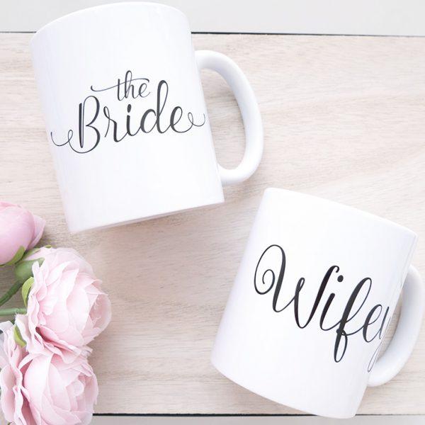 """2er Tassen-Set """"The Bride"""" & """"Wifey"""""""