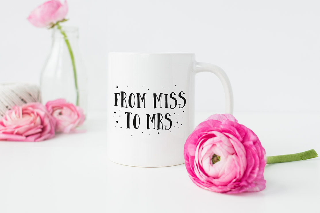 "Tasse ""From Miss to Mrs"""