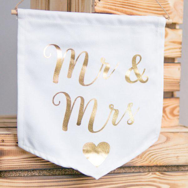 "Deko-Flagge ""Mr & Mrs"" | Gold"