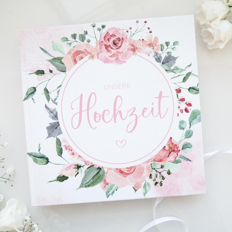 Gästebuch zur Hochzeit mit Blanko-Seiten | Rose Watercolor