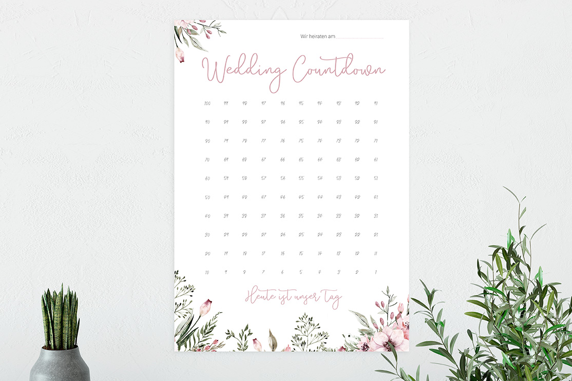 Wedding Countdown Poster Din A3 | Wild Flowers
