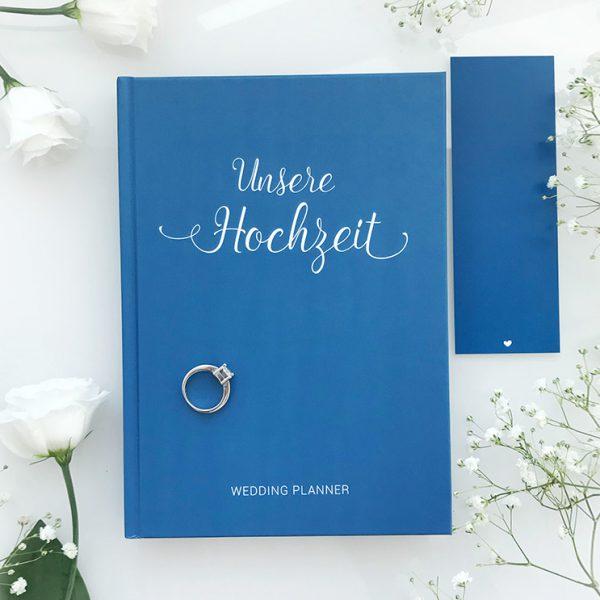 """""""Unsere Hochzeit"""" - Hochzeitsplaner mit 168 Seiten und Lesezeichen in Blau"""