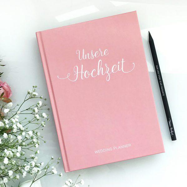 [B-Ware] Hochzeitsplaner mit 168 Seiten und Lesezeichen in Rosa