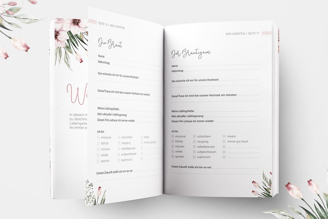 """""""Wir heiraten"""" - Hochzeitsplaner mit 168 Seiten   Wild Flowers"""