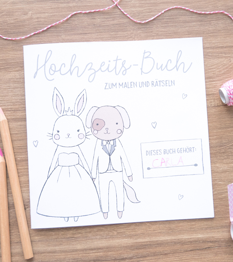 [B-Ware] 5er Set: Kinder-Hochzeitsbuch zum Malen und Rätseln | 21 x 21 cm