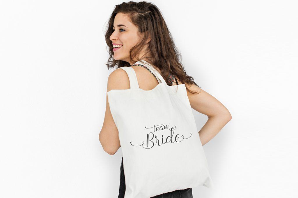 """Stoffbeutel """"Team Bride"""", Weiß"""